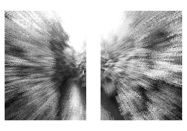 Magda Von Hanau Black and White Photograph - River Prague 3 Diptych, Black and White Large Archival Pigment Print