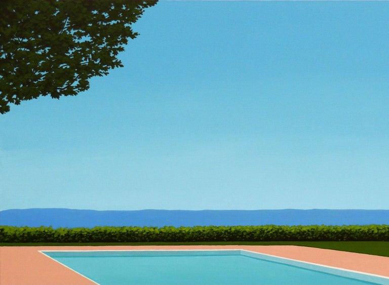 Lemon deck chair - landscape painting - Painting by Magdalena Laskowska
