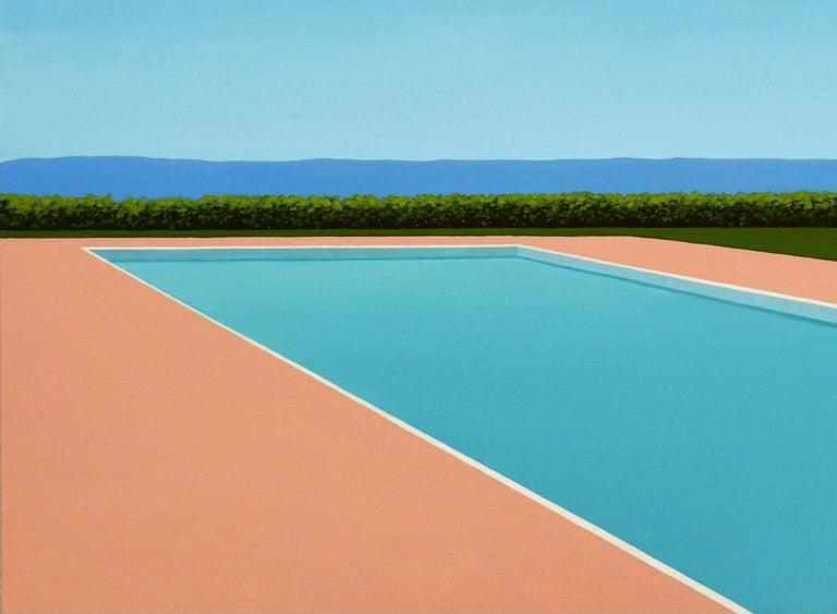 Lemon deck chair - landscape painting - Contemporary Painting by Magdalena Laskowska