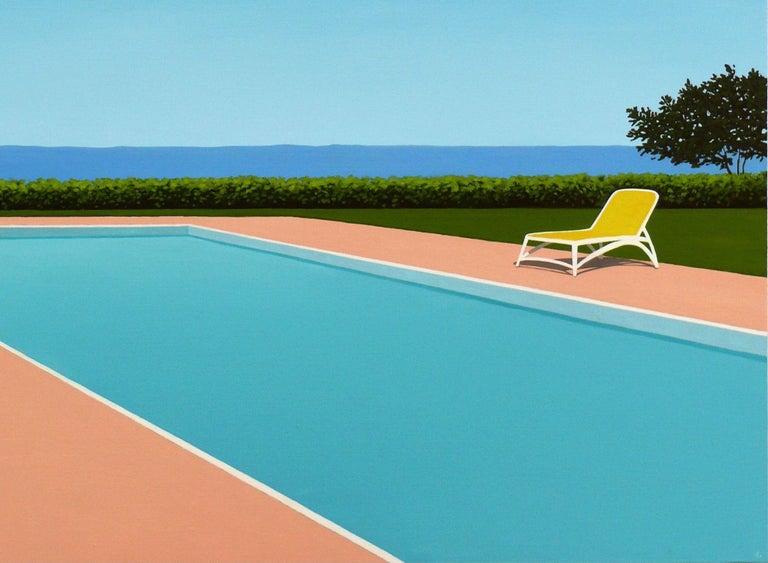 Lemon deck chair - landscape painting - Blue Figurative Painting by Magdalena Laskowska