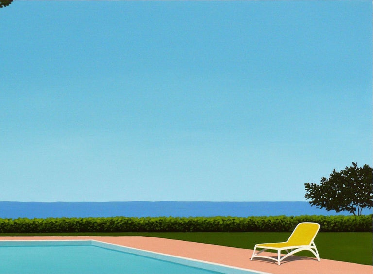 This beautiful acrylic on canvas painting by Magdalena is part of her pool series paintings. It is 73X92 cm, signed by the artist and comes with a certificate of authenticity from our gallery. Magdalena Laskowska, born in Warsaw, 1985. Studied