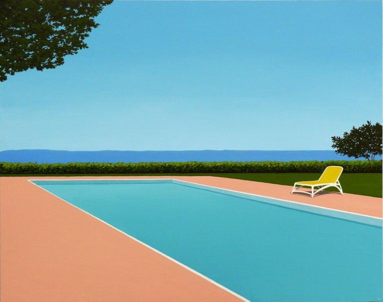 Magdalena Laskowska Figurative Painting - Lemon deck chair - landscape painting