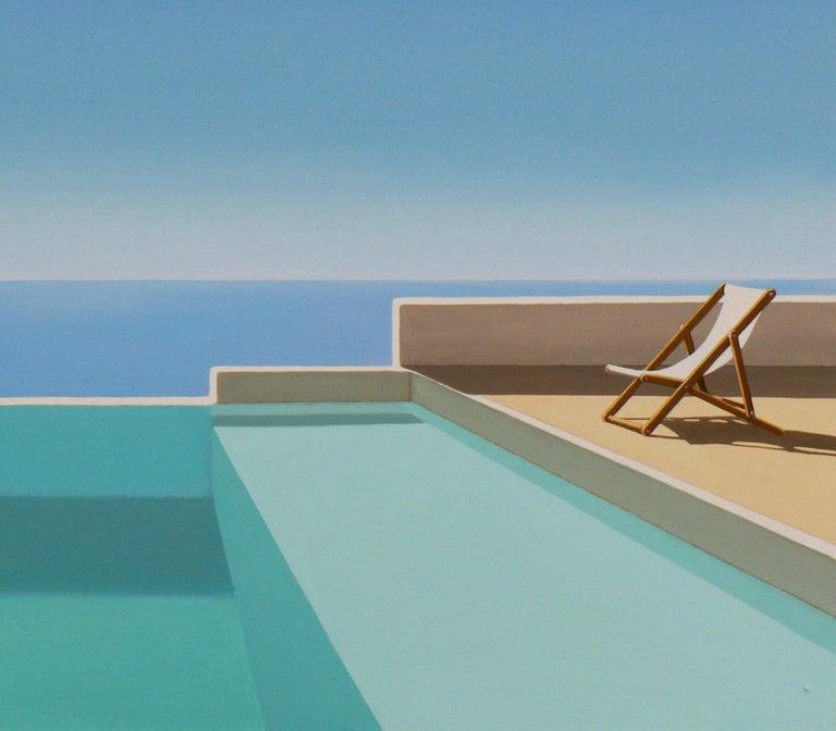 Paros - landscape painting - Blue Landscape Painting by Magdalena Laskowska