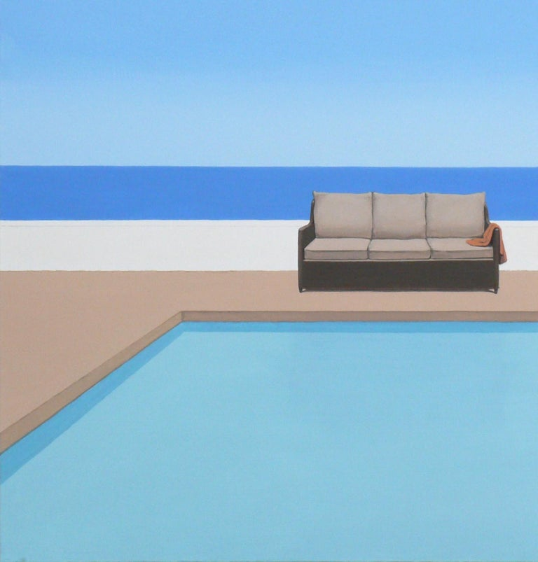 Pool by the ocean - landscape painting - Painting by Magdalena Laskowska