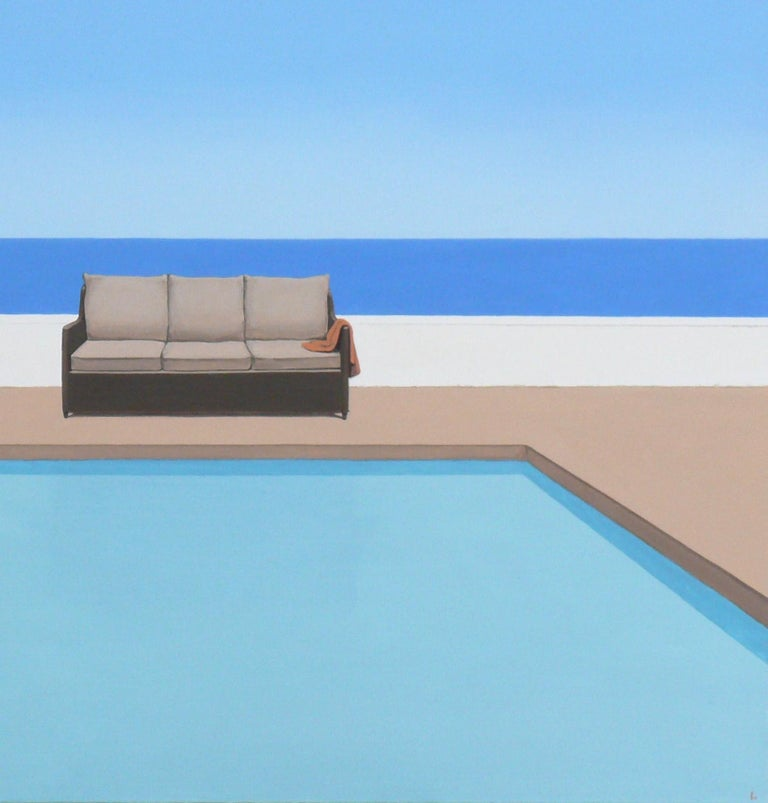 Pool by the ocean - landscape painting - Contemporary Painting by Magdalena Laskowska