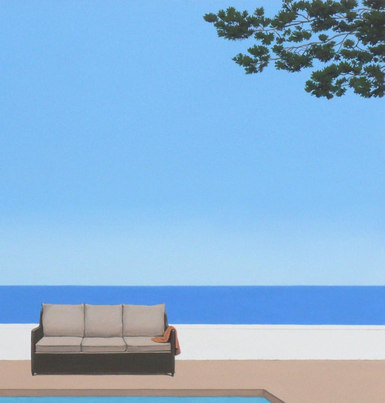 Pool by the ocean - landscape painting - Blue Figurative Painting by Magdalena Laskowska