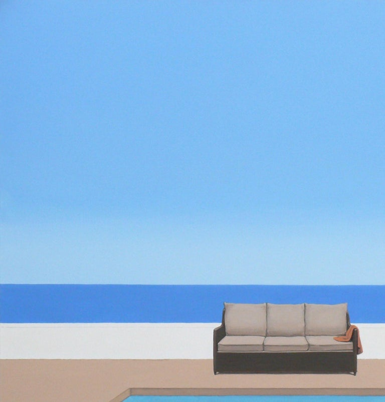 Pool by the ocean - landscape painting For Sale 1