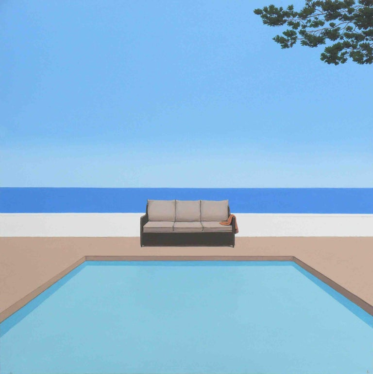 Magdalena Laskowska Figurative Painting - Pool by the ocean - landscape painting