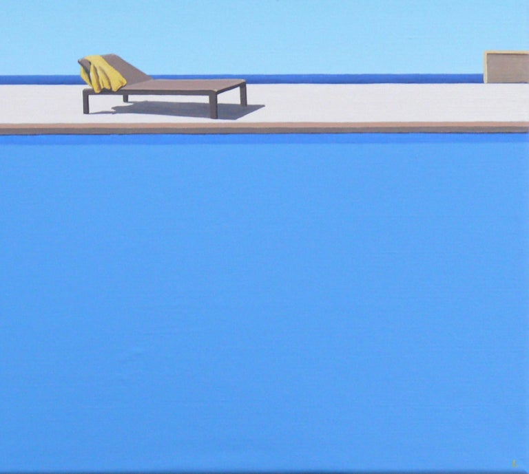 Scent of Lemons - landscape painting - Blue Figurative Painting by Magdalena Laskowska