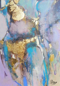Elation, abstract purple, blue and gold mixed media painting