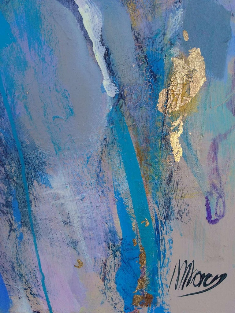 This is a figurative all about contrasts: the cracked, stony texture contrasting with the smooth sensuality of the subject and the cool turquoises contrasting with the warm gold and soft lavender hues. She is alive and glad to be so!   This original