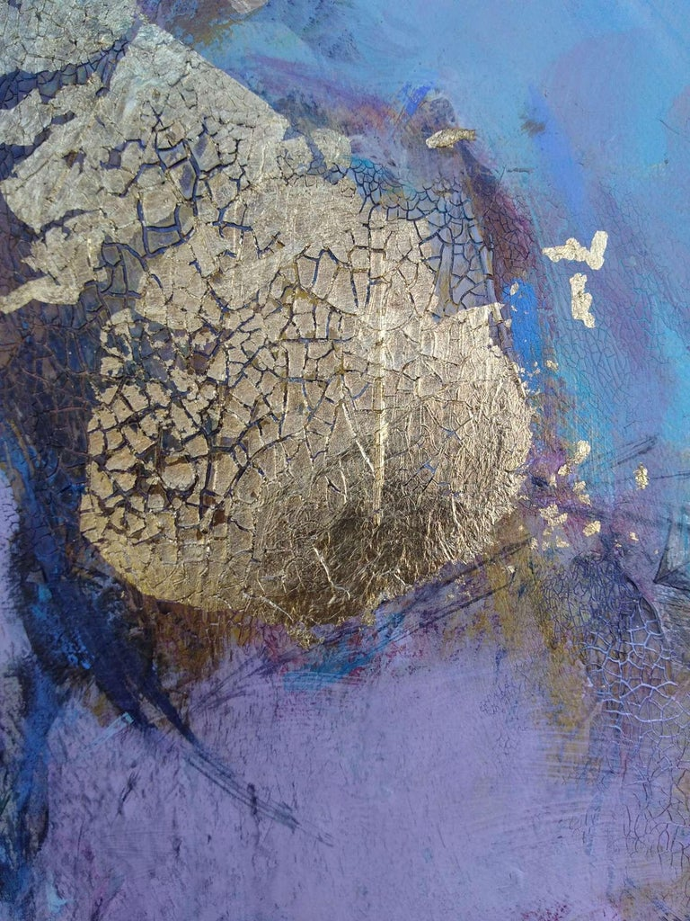 Elation, abstract purple, blue and gold mixed media painting For Sale 1