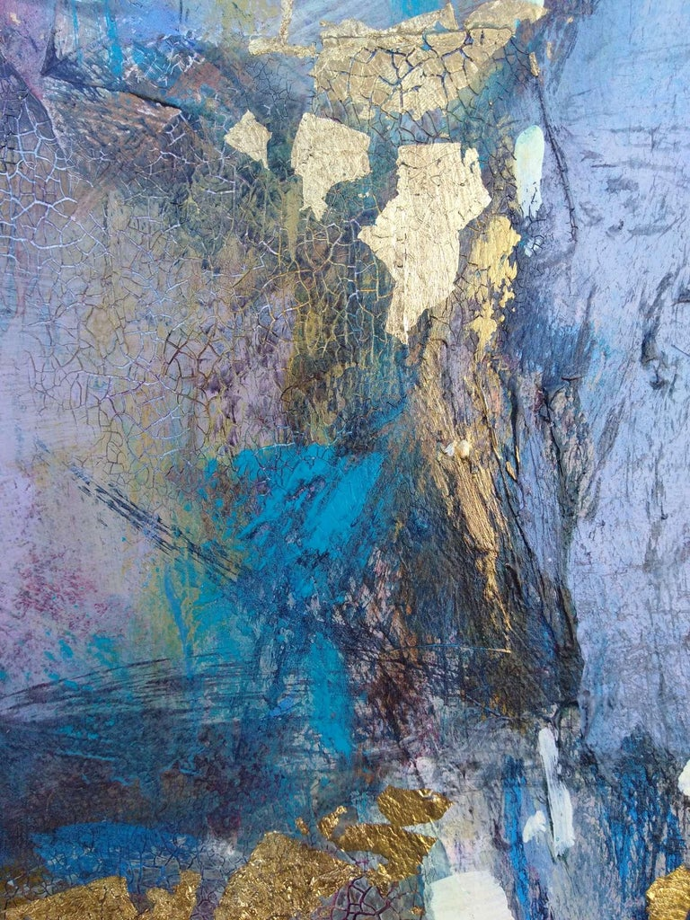 Elation, abstract purple, blue and gold mixed media painting For Sale 2