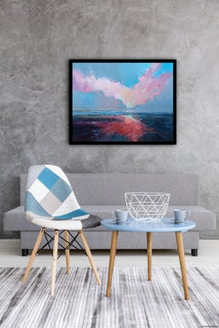 Fresh Perspectives 7, Blue and pink landscape painting