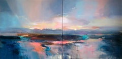 Abstract diptych seascape painting Contemporary Art 21st century