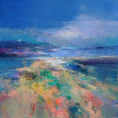 As Evening Draws - abstract landscape painting Contemporary Art- 21st Century