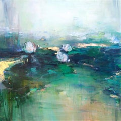 Calmness I Abstract  waterlilies painting