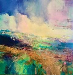 Coastal Walk I - original colourful landscape seascape painting Contemporary