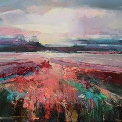 Glowing Skies 3 - original landscape mixed media painting