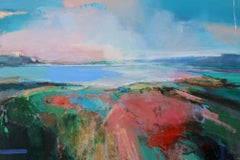 Hilltop Walk - abstract landscape sea painting Contemporary Art 21st Century