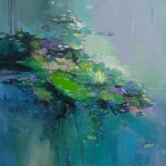 Land of Lillies II - abstract landscape painting contemporary modern art 21st C
