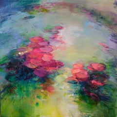 Out of my Depths I - abstract floral landscape 21st C painting Contemporary Art