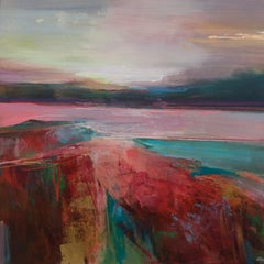 Rose Tinted Memories original contemporary abstract landscape painting 21st C