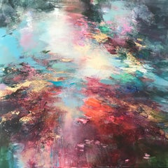 Softly setting abstract landscape painting Contemporary Art- 21st Century