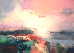 Warm Mists - abstract landscape painting Contemporary Art- 21st Century