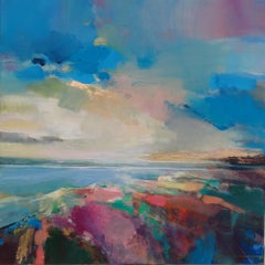 Warm Skies 3 - original abstract beach landscape painting contemporary 21st C