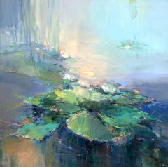 Waterlilies I original abstract landscape painting