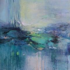 Waterlilies II original abstract landscape painting