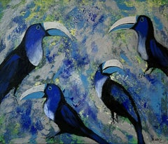 Gardens of Delight 3 - Figurative acrylic painting Animals Bright colours Birds