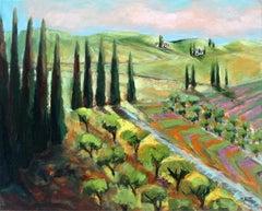 Provence (Vineyards)-XXI century, Figurative oil paintings, Colourful, Landscape