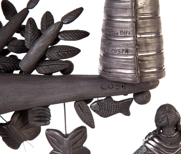 20'' Arbol 8 Regiones Oaxaca / Ceramics Black Clay Mexican Folk Art Tree of Life 9