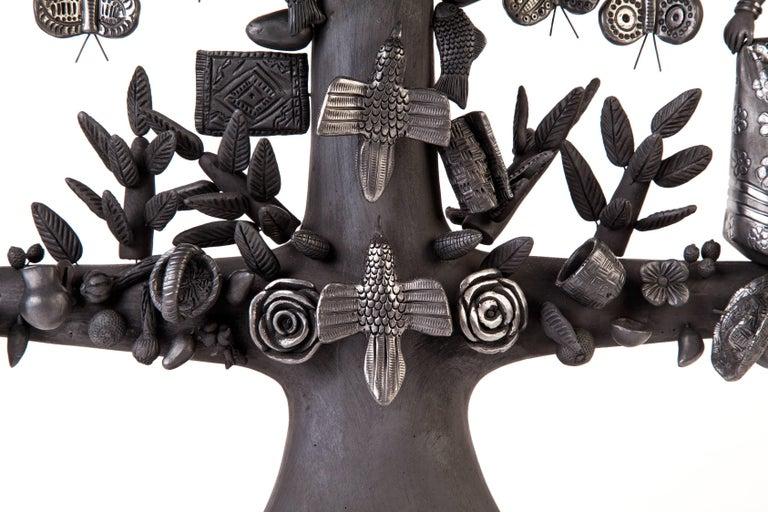 20'' Arbol 8 Regiones Oaxaca / Ceramics Black Clay Mexican Folk Art Tree of Life 3