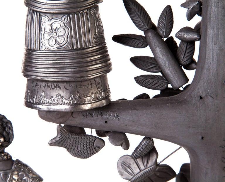 20'' Arbol 8 Regiones Oaxaca / Ceramics Black Clay Mexican Folk Art Tree of Life 4