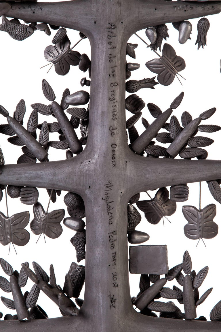 20'' Arbol 8 Regiones Oaxaca / Ceramics Black Clay Mexican Folk Art Tree of Life 5