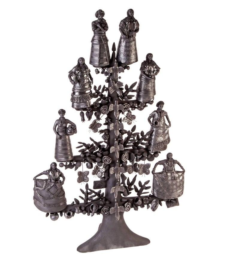Magdalena Pedro Martinez Abstract Sculpture - 20'' Arbol 8 Regiones Oaxaca / Ceramics Black Clay Mexican Folk Art Tree of Life