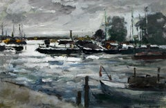 Boats - Oil painting, Figurative, Landscape, Muted colors, Impressionism