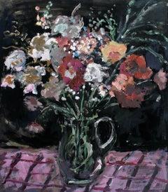 Bouquet - XXI century, Oil painting, Figurative, Grey tones, Still life