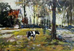 Country view - 21 century, Oil painting, Figurative, Landscape, Warm tones