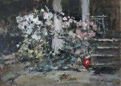 Stairs. Roses - Oil on canvas, Figurative Landscape, Impressionism, Muted colors