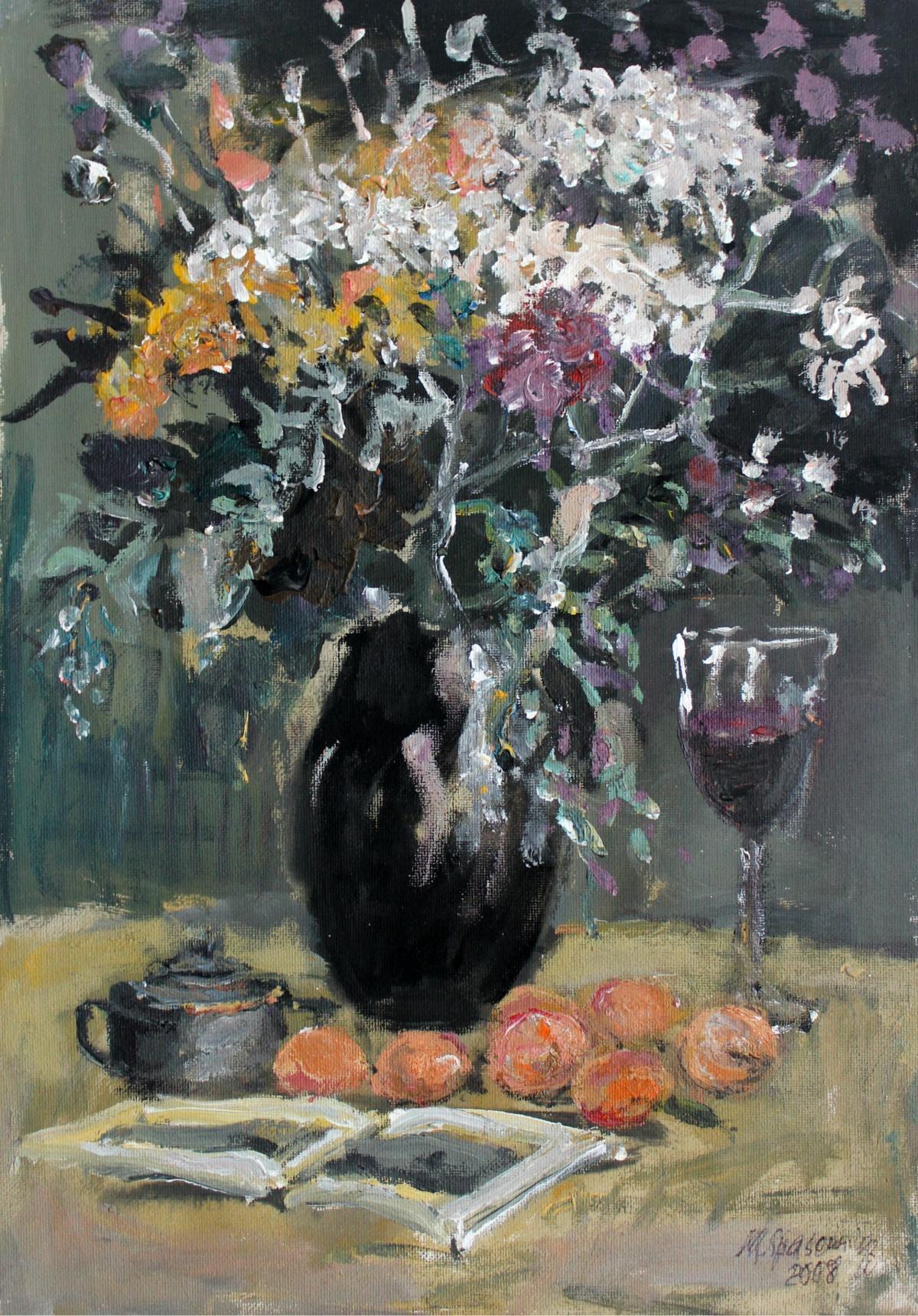 Still life - XXI century, Oil painting, Figurative, Grey tones