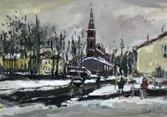 Winter view - XXI century, Oil painting, Figurative, Landscape