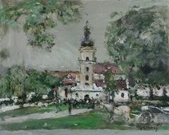 Zamość - XXI century, Gouache on cardboard, Figurative, Landscape