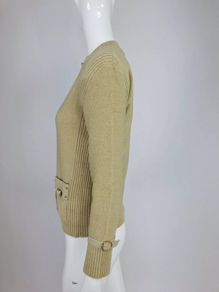 Magdeleine Poncet tan wool knit metal & ultra suede twin set 1970s For Sale 5