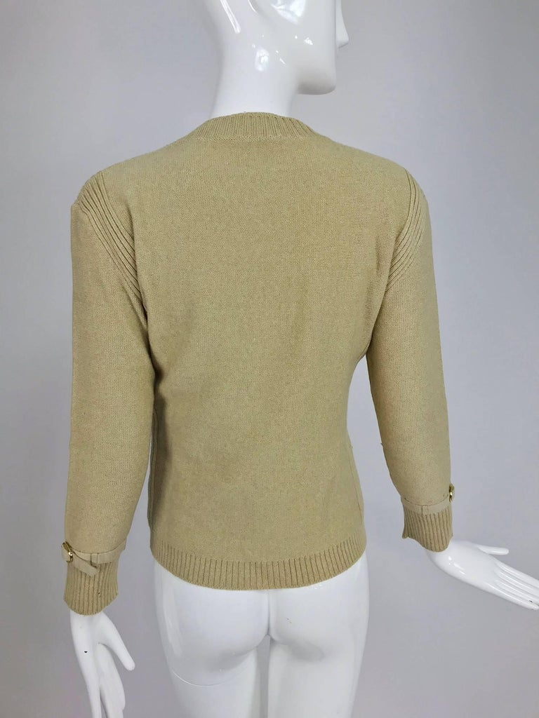 Magdeleine Poncet tan wool knit metal & ultra suede twin set 1970s For Sale 6