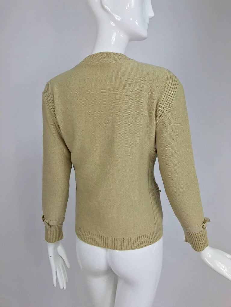 Magdeleine Poncet tan wool knit metal & ultra suede twin set 1970s For Sale 7