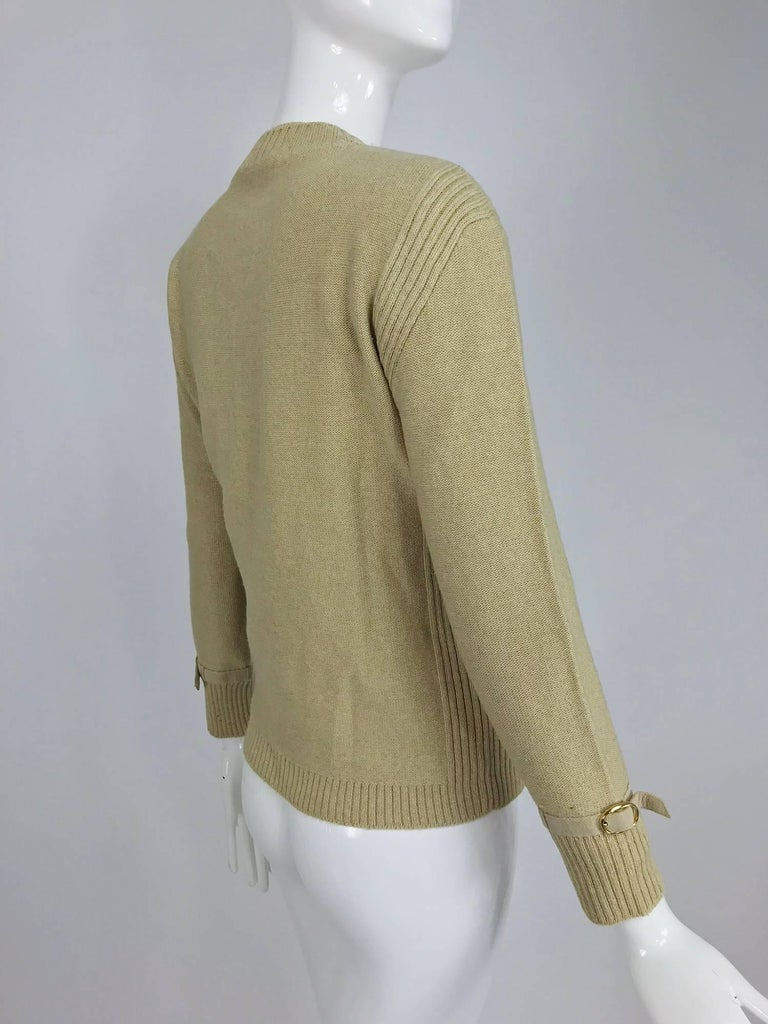 Magdeleine Poncet tan wool knit metal & ultra suede twin set 1970s For Sale 8